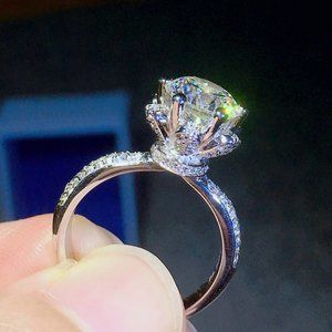 Jewelry - *NEW 3CT Diamond Flower 925 Sterling Silver Ring